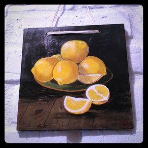Lemons still life oil painting by local artist